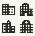 four buildings minimal icons offices apartments vector image vector image