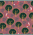 fox forest seamless pattern design vector image vector image