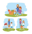 fun family together with picnic basket vector image