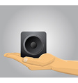 Hand holding a speaker vector image vector image