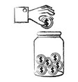 hand saver with glass jar and coins money vector image vector image