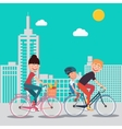 Happy Family Riding Bikes in the City vector image