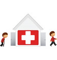 hospital with patient icon vector image vector image