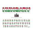 hungary cartoon font hungarian national flag vector image