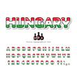 hungary cartoon font hungarian national flag vector image vector image