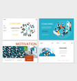 isometric business coaching websites set vector image