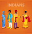 Isometric indian people in traditional clothes