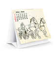 June 2014 desk horse calendar vector image vector image