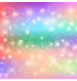 kawaii baby unicorn background with glowing stars vector image