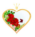 label golden heart with a crown and roses vector image vector image