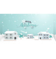 merry christmas winter snow village vector image vector image