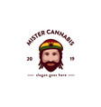 mister cannabis logo icon template vector image