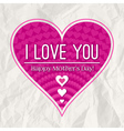 Mothers day greeting card with pink heart vector image vector image