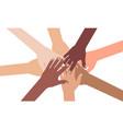 multi-ethnic diverse hands putting together vector image