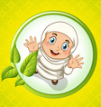 Muslim girl with happy face vector image vector image