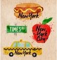 New York symbols taxi kraft vector image