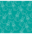 pattern of silhouettes of rabbit isolated on blue vector image vector image