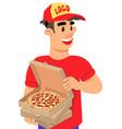 pizza delivery guy cartoon pop art vector image