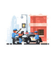 police station and patrol with detainee vector image vector image