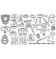 police thin line icons set vector image