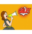 Pop Art Woman SALE discounts sign vector image