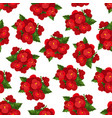 red flower with leaf floral seamless pattern vector image vector image