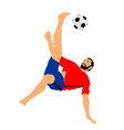 sand soccer player scissor moves in football game vector image vector image