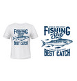 sea fishing catch t-shirt print with mackerel vector image vector image