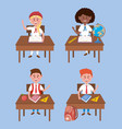 set girls and boys students in desk with vector image vector image