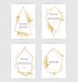 set of card with leaves and geometrical frame vector image vector image