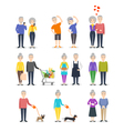 Set of senior people Different activity cooking vector image vector image