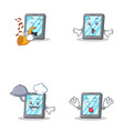 set of tablet character with trumpet tongue out vector image vector image