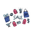 shopping set manually drawn color doodle icons on vector image vector image
