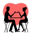 Silhouette of couple in cafe on red heat vector image