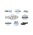 stock fish cuts diagram and label for seafood shop vector image vector image