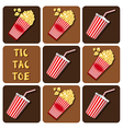 Tic-Tac-Toe of beverage cup with straw and popcorn vector image