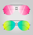 two modern sunglasses isolated on grey background vector image vector image