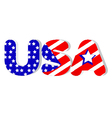 USA word in flag colors vector image