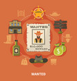 wanted person cowboy round composition vector image vector image
