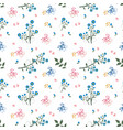 wild flower seamless pattern on blue and pink vector image vector image