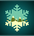 winter forest in snowflake shape border vector image vector image