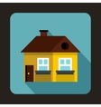 Yellow cottage icon flat style vector image