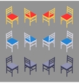 Isometric colored chairs vector image
