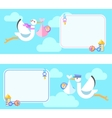 Cute greetings card with Stork carrying baby vector image