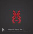 spider outline symbol red on dark background logo vector image