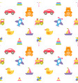 pattern with colorful baby toys vector image