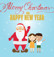 Santa Claus and children Christmas greeting card vector image