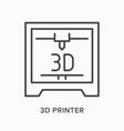 3d printer flat line icon outline vector image