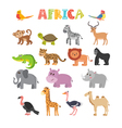 Animals of Africa set of cartoon jungle animals vector image vector image