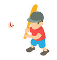 baseball player icon isometric 3d style vector image vector image